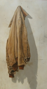 "Jane Wolsak's ""Brown Jacket"" 2007. Acrylic paint on wood panel."