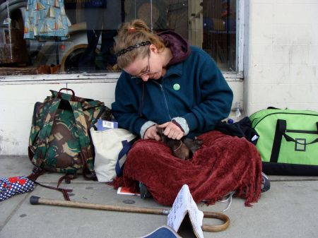 Jill Baron and her three rats: Bear, Dixie and Ree.