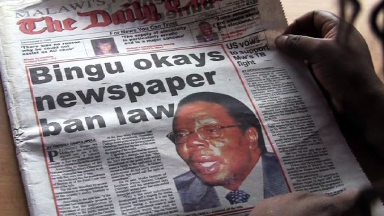 """Bingu okays newspaper ban law,"" Daily Times March 1, 2011"