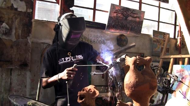 Artist Fiel dos Santos welds arms into art