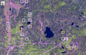 Satellite imagery of the spill, yellow boxes indicate bitumen releases